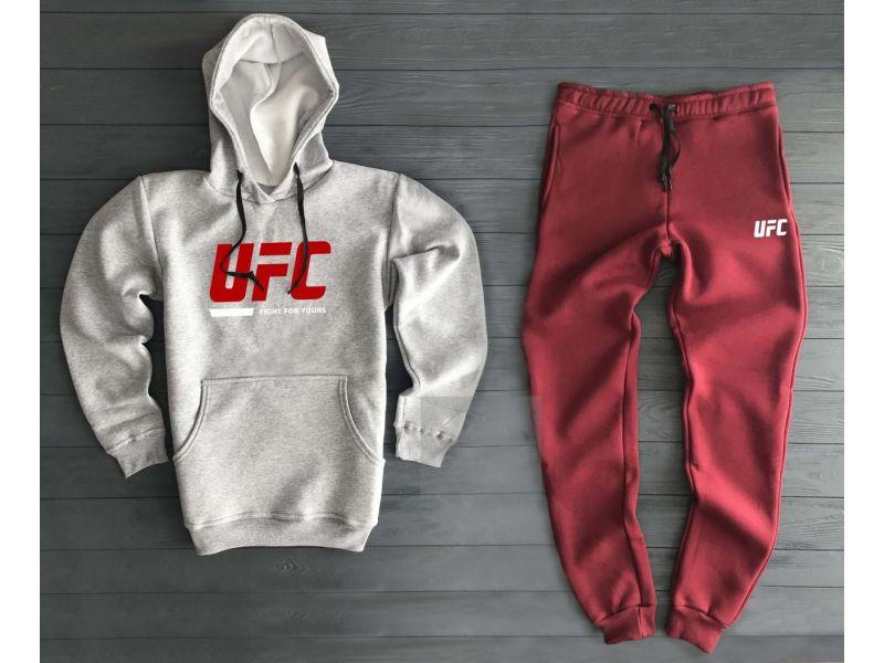 9d48a1eb Теплый мужской спортивный костюм UFC серо-бордового цвета купить ...