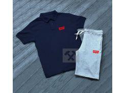 Летний мужской спортивный костюм Levi's синий верх серый низ S