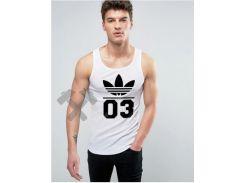 Мужская майка Adidas Originals 03 белого цвета с черным логотипом