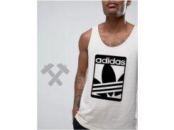 Мужская майка Adidas Originals белого цвета с черным логотипом XS