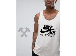 Мужская майка Nike Air Force белого цвета с черным логотипом XS
