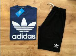 Летний мужской спортивный костюм шорты+футболка Adidas Original синий верх черный низ XS