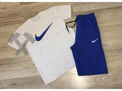 Мужской спортивный костюм Nike бело-синего цвета L