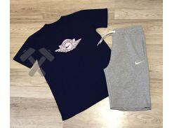 Летний мужской спортивный костюм Nike Air Flight синий верх серый низ XS