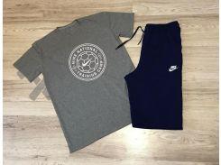 Летний мужской спортивный костюм Nike National Training серый верх синий низ XS