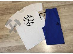 Летний мужской спортивный костюм шорты+футболка Adidas Ole белый верх синий низ S