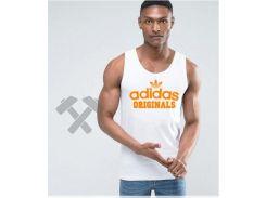 Мужская майка Adidas белого цвета с оранжевым логотипом XS