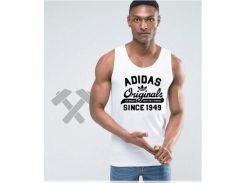 Мужская майка Adidas Originals 1949 белого цвета с черным логотипом XS