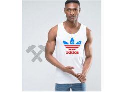 Мужская майка Adidas Originals белого цвета с красно-синим логотипом XS