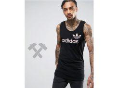 Мужская майка Adidas Originals черного цвета с белым логотипом XS