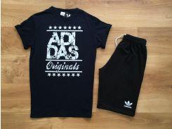 Летний мужской спортивный костюм шорты+футболка Adidas Original черного цвета