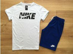 Мужской спортивный костюм шорты+футболка Nike бело-синего цвета XS
