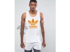 Мужская майка Adidas Original белого цвета с оранжевым логотипом XS