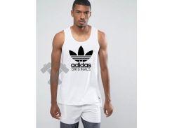 Мужская майка Adidas Originals белого цвета с черным логотипом SX
