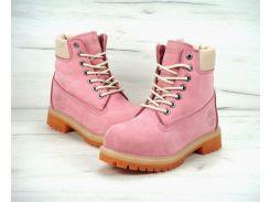 Ботинки Timberland на меху в розовом цвете