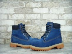 Ботинки Timberland синего цвета на меху