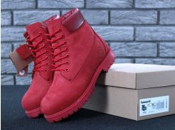 Женские ботинки Timberland Classic красного цвета