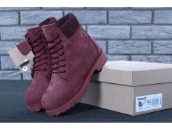 Женские зимние ботинки Timberland Classic Малинового цвета  37