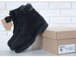 Женские зимние ботинки Timberland Classic Black натуральный мех 37