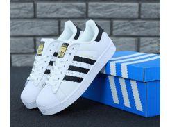 Мужские кроссовки Adidas Superstar White Gold белого цвета
