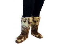 Чуни женские из шерсти мериносовой овчины высокие до колен с узором «Олени скандинавские»  38