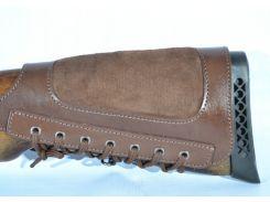 Патронташ на приклад кожаный левый коричневый