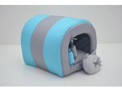 Будка туннель для собак и котов Комфорт лето бирюзовая