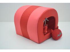Будка туннель для собак и котов Комфорт лето красная