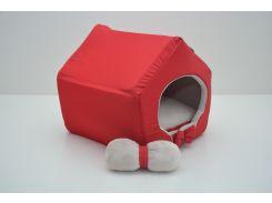 Домик для кошек собак VIP плюш красный