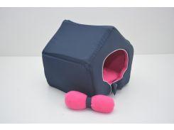 Домик для кошек собак VIP плюш синий