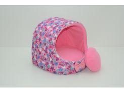 Будка для кошек и собак Звездочка розовая №3 520х440х440