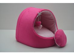 Будка для собак и котов Плюш розовая №1 360х320х320