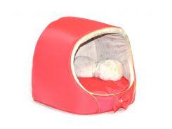 Будка для котов и собак VIP плюш красная №2 425х375х375