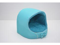 Будка для котов и собак VIP плюш бирюзовая №0 305х270х270