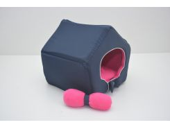 Домик для кошек собак VIP плюш синий №2 345х390х385