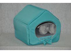 Домик для кошек собак VIP плюш бирюзовый №3 385х480х430