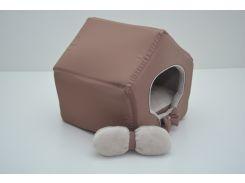 Домик для кошек собак VIP плюш коричневый
