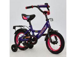 """Велосипед 12"""" дюймов 2-х колёсный С12080 """"CORSO"""" (1) СИРЕНЕВЫЙ, звоночек, сидение с ручкой, доп. колеса, СОБРАННЫЙ НА 75% в коробке"""