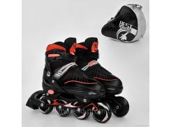 """Ролики 5700 """"М"""" Best Roller цвет-КРАСНЫЙ /размер 35-38/ (6) колёса PU, в сумке d=7 cм"""