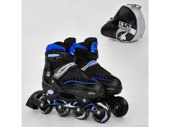 """Ролики 5700 """"М"""" Best Roller цвет-СИНИЙ /размер 35-38/ (6) колёса PU, в сумке d=7 cм"""