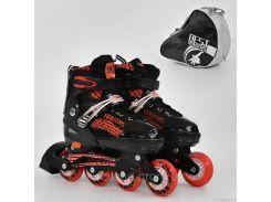 """Ролики 5800 """"L"""" Best Roller /размер 39-42/ цвет-КРАСНЫЙ (6) колёса PU, переднее колесо свет, в сумке d=7cм"""