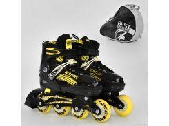 """Ролики 5800 """"М"""" Best Roller /размер 35-38/ цвет-ЖЁЛТЫЙ (6) колёса PU, переднее колесо свет, в сумке d=7cм"""