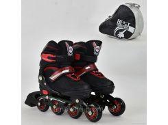 """Ролики 8901 """"S"""" Best Roller цвет-ЧЁРНЫЙ /размер 31-34 (30-33)/ (6) колёса PU, без света, в сумке, d=6.4 см"""