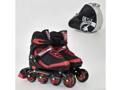 """Ролики 9002 """"М"""" Best Roller цвет-КРАСНЫЙ /размер 35-38/ (6) колёса PU, без света, в сумке, d=7 см"""
