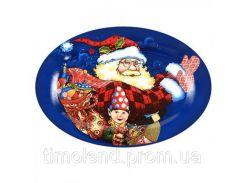 """Блюдо овальное керамическое 25,4см """"Дед Мороз"""""""