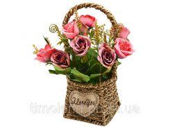 """Композиция из искусственных цветов """"Розы в корзинке"""" 22см"""
