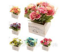 """Композиция из искусственных цветов """"Цветы в коробке"""" 15*15*17см"""