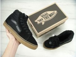 Кеди Vans SK8 - Hi. Winter Edition Black Gum Black, зимові ванси з хутром.