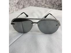 Chanel Sunglasses Pilot Diamonds Silver/Gray