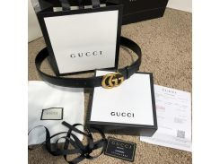 Belt Gucci with Double G Buckle Leather Black